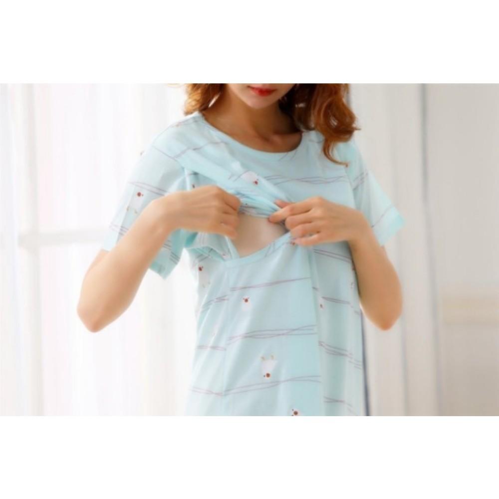哺乳裙 【B9971】 鳥兒吱吱 短袖 睡裙 哺乳衣 哺乳裙 孕婦裝 哺乳衣 睡衣