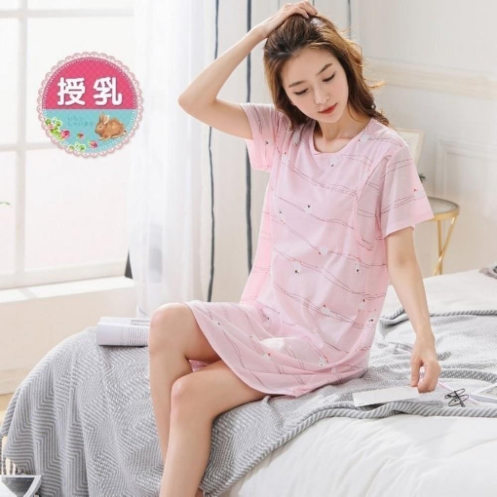 B9971 - 哺乳裙 【B9971】 鳥兒吱吱 短袖 睡裙 哺乳衣 哺乳裙 孕婦裝 哺乳衣 睡衣