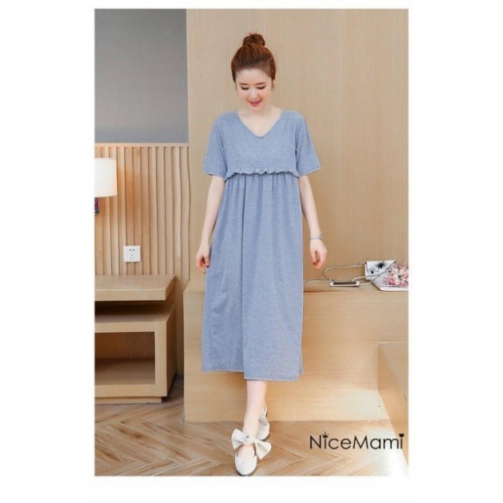 純粹風格哺乳裙 【BFC0172UK】 韓版 短袖 哺乳裙 長裙 哺乳衣 孕婦裝 長洋裝