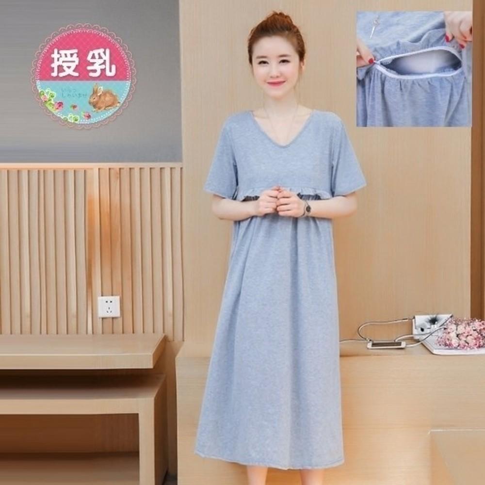 純粹風格哺乳裙 【BFC0172UK】 韓版 短袖 哺乳裙 長裙 哺乳衣 孕婦裝 長洋裝 封面照片