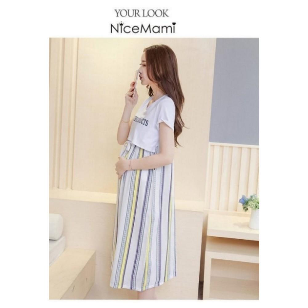 英文哺乳裙 【BFC6733TH】 印花 條紋 短袖 孕婦長裙 哺乳 長洋裝 孕婦裝