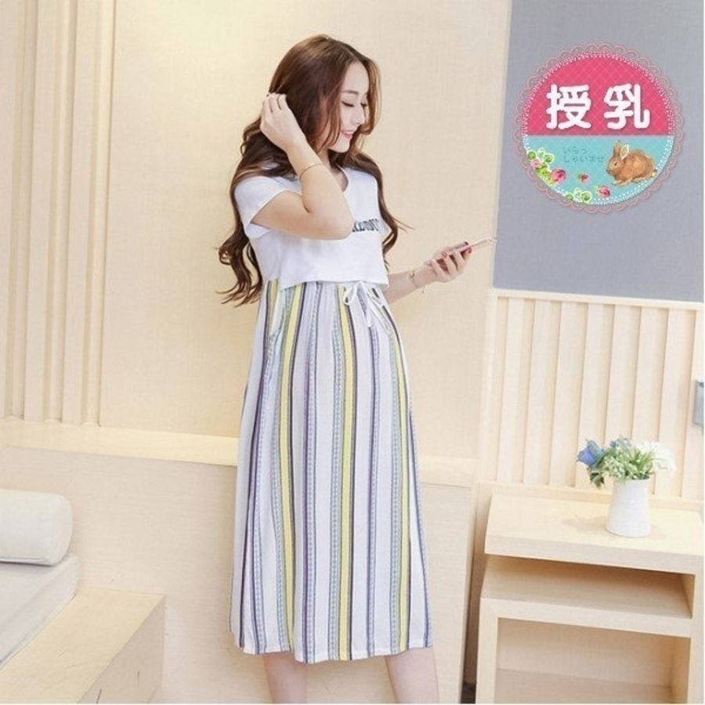 BFC6733TH-英文哺乳裙 【BFC6733TH】 印花 條紋 短袖 孕婦長裙 哺乳 長洋裝 孕婦裝