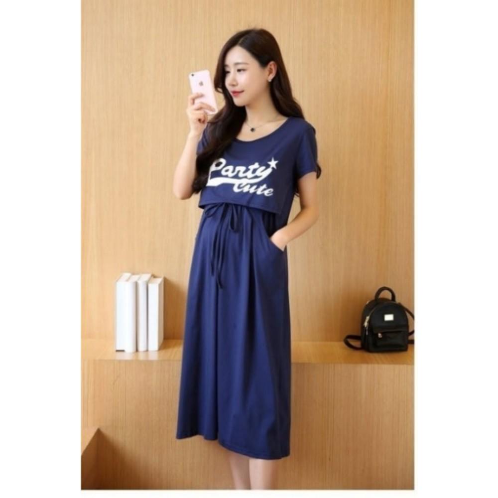 哺乳裙 【BFC8539JA】 PARTY CUTE 短袖 孕婦哺乳裙 長裙 孕婦哺乳衣 長洋裝 PARTY