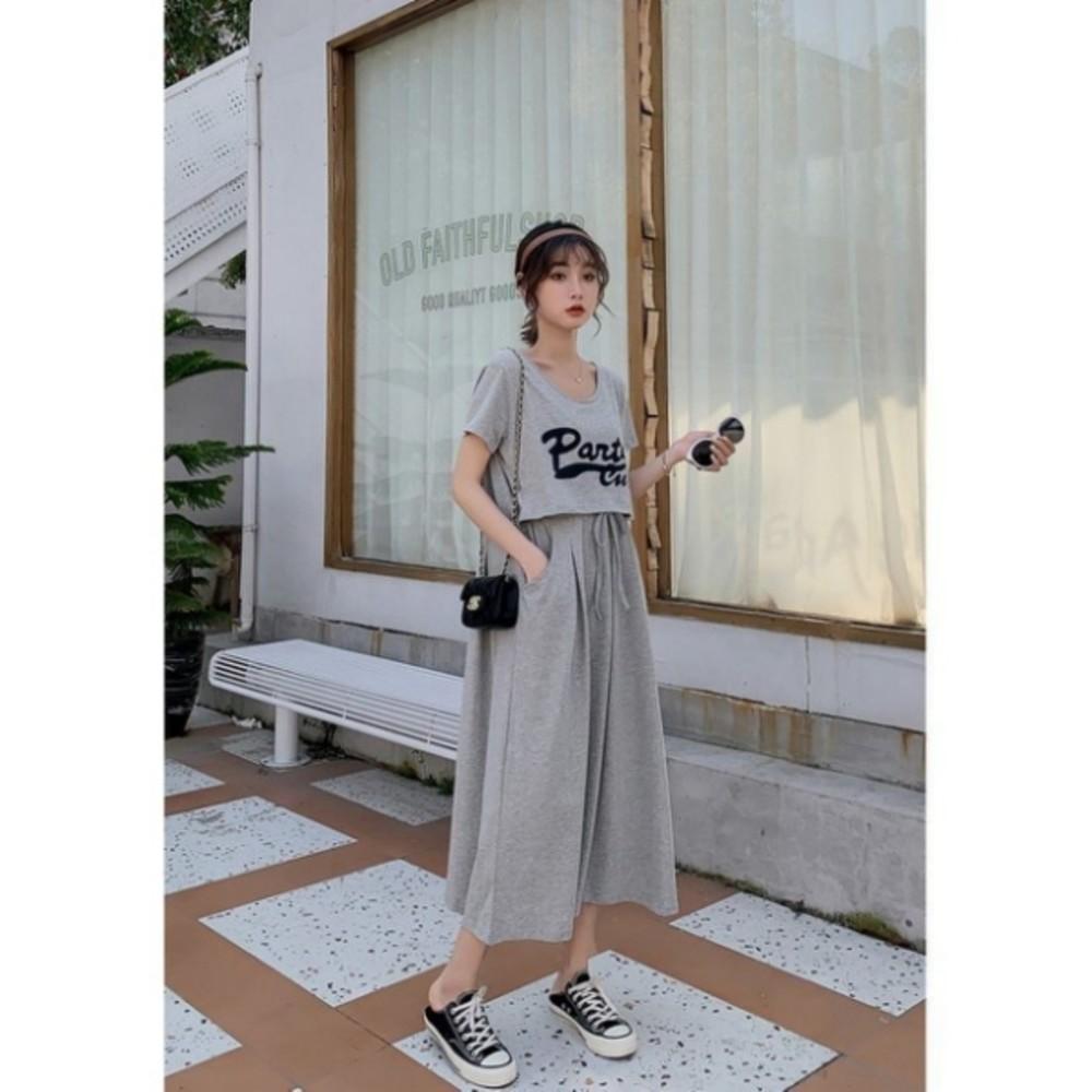 PARTY Cute 哺乳裙 【BFC8539JA】 英文字母 短袖 孕婦哺乳裙 長裙 孕婦哺乳衣 長洋裝