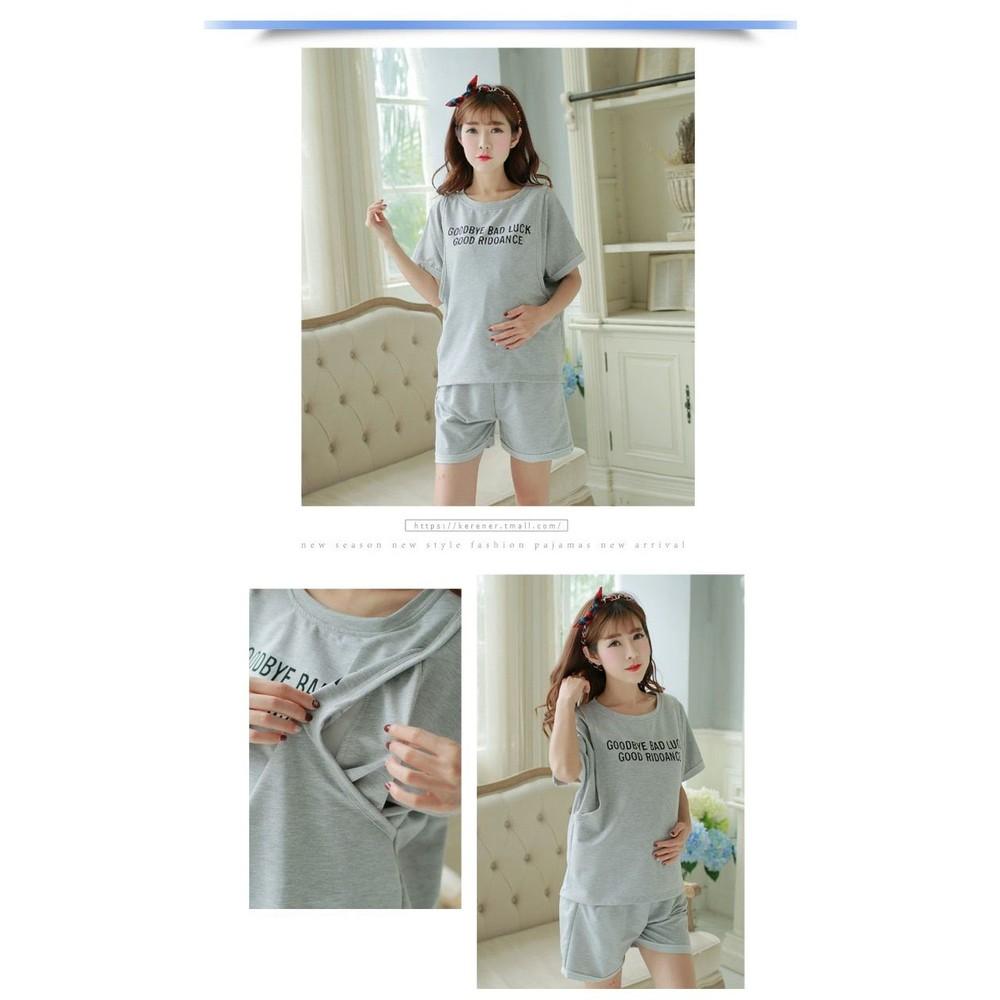 兩件式孕婦套裝 【BFS350SL】 韓版 短袖 哺乳衣 運動 寬袖 托腹短褲 兩件式 孕婦套裝
