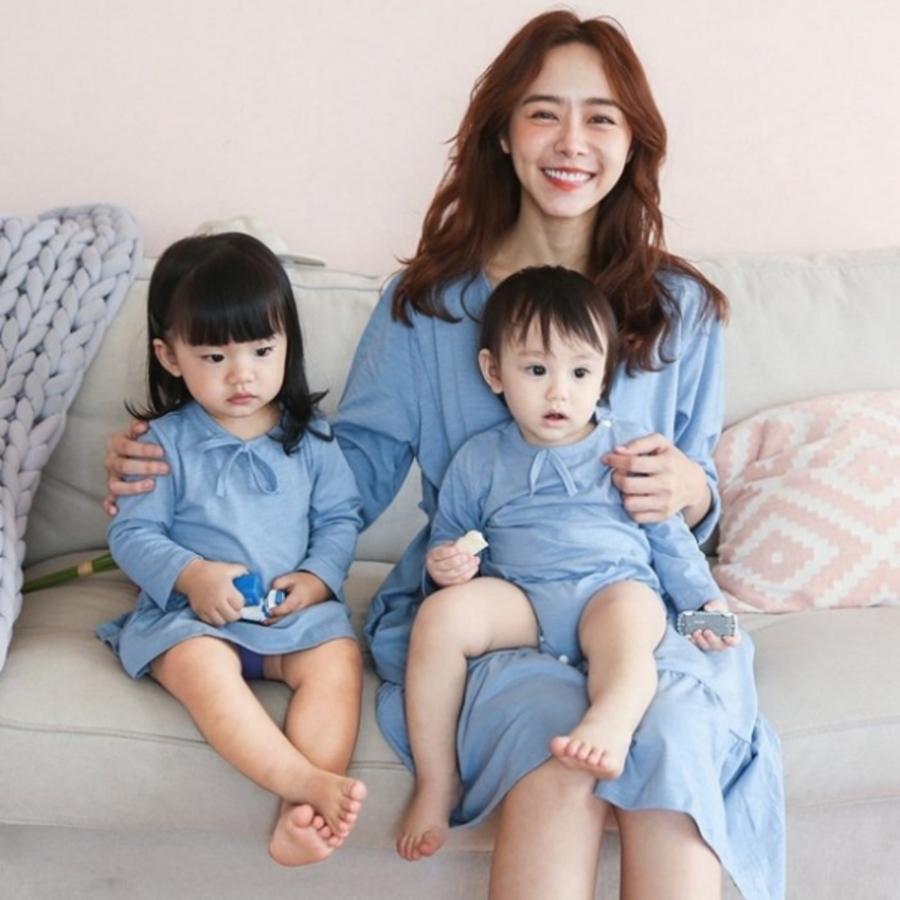 哺乳 親子裝 套組【BS0250GU】休閑兩件套孕婦連衣裙親子裝哺乳衣 封面照片
