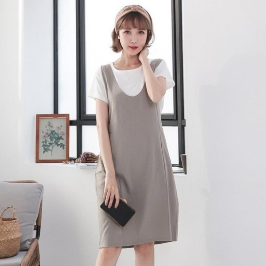 BS0300GU-兩件式 哺乳裝 【BS0300GU】 V領 二件式 背心裙 短袖 哺乳衣 孕婦裝 洋裝