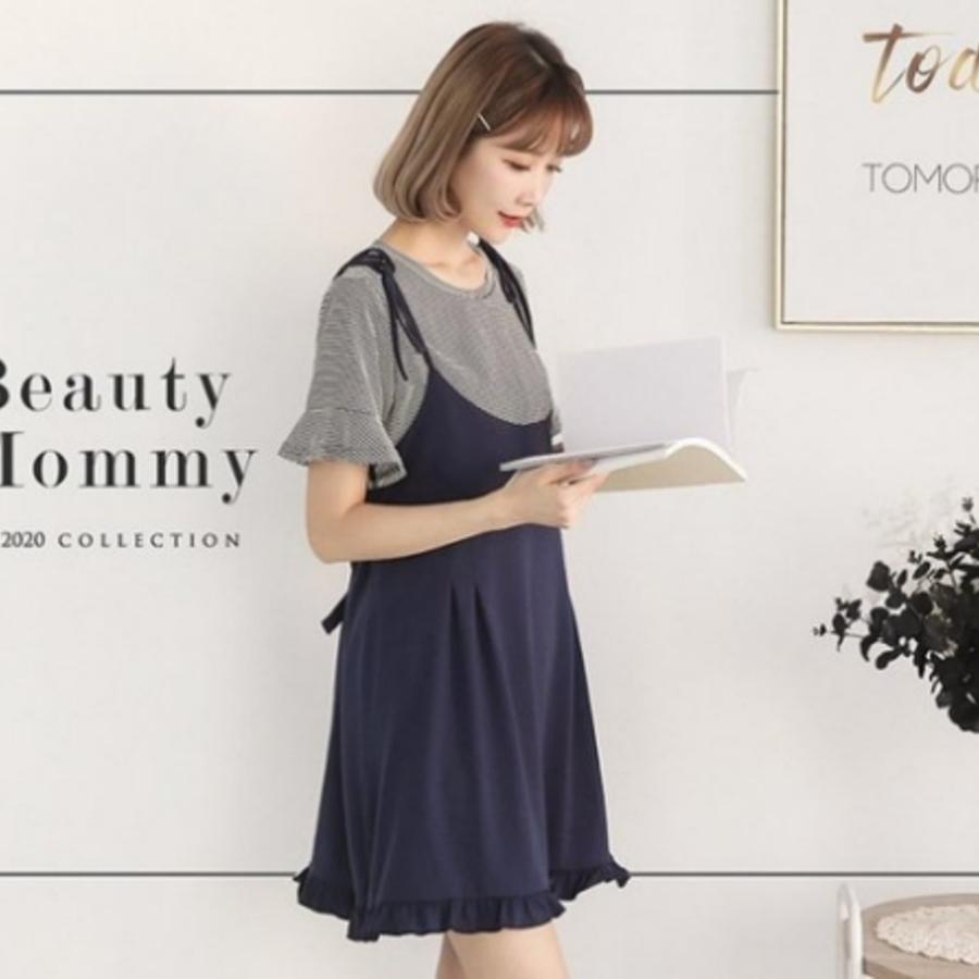兩件式 喇叭袖 【BS1500GU】 條紋 二件式 短袖 哺乳衣 荷葉 吊帶裙 孕婦裝 哺乳