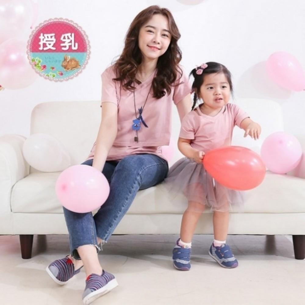 BS2309GU-親子裝 【BS2309GU】純色 造型領 短袖 棉T 哺乳衣 哺乳上衣 孕婦裝
