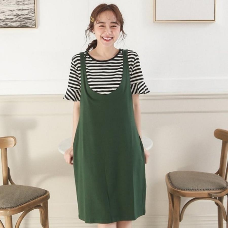 BS2500GU-兩件式 背心裙 哺乳裝 【BS2500GU】 喇叭袖 短袖 哺乳衣 孕婦裝 條紋 哺乳 吊帶裙