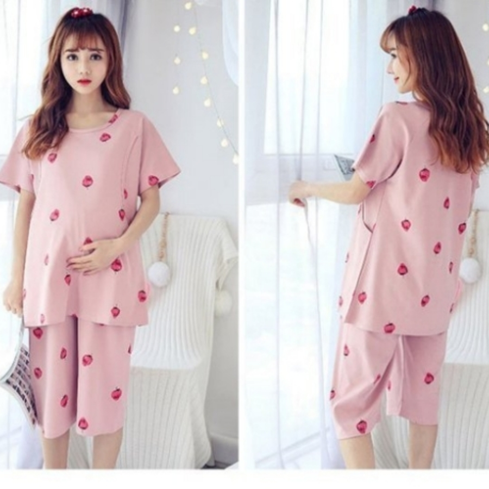 哺乳套裝 【BS3229】 滿滿草莓 短袖 睡衣 哺乳衣 孕婦裝 月子服 套裝