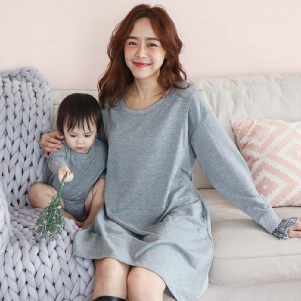 哺乳 親子裝 套組【BS4359GU】孕婦連衣裙外出長袖親子裝哺乳衣