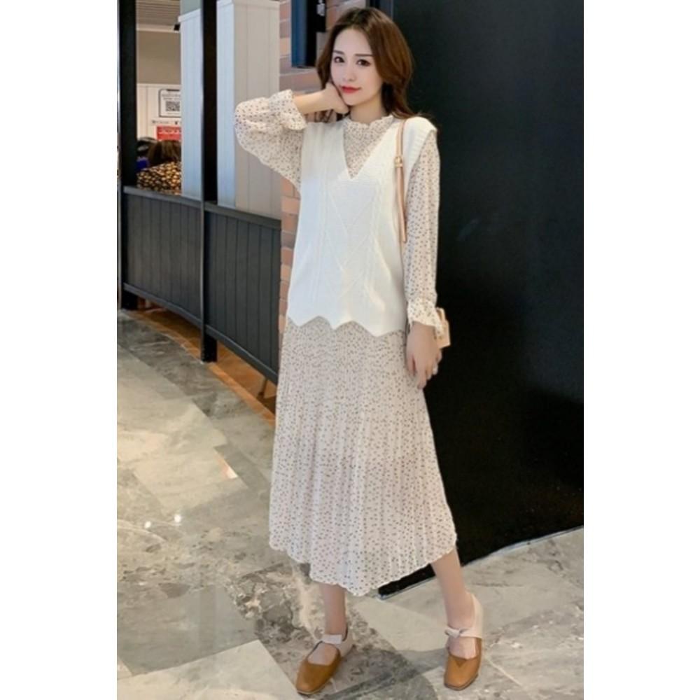 小香風背心洋裝二件式【DS5202】2020孕婦套裝 連衣裙 秋裝