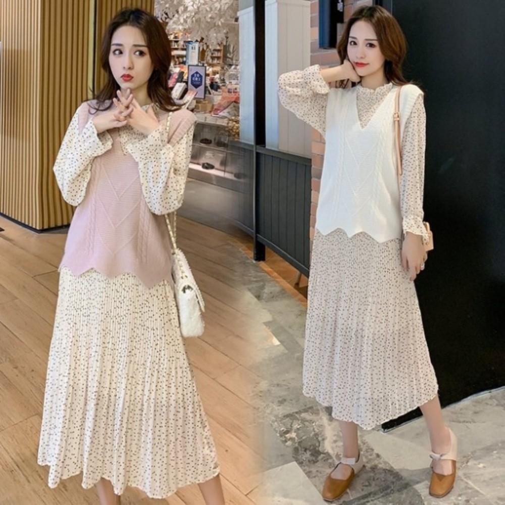 BS5202 - 小香風背心洋裝二件式【DS5202】2020孕婦套裝 連衣裙 秋裝
