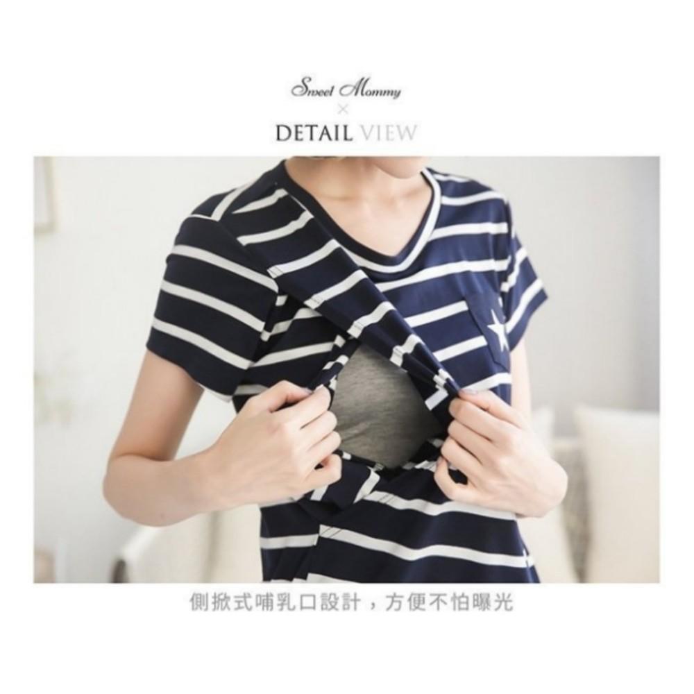 哺乳 親子裝 套組【BS5600GU】 STAR 條紋 短袖 孕婦裝 寶寶 包屁衣 哺乳上衣