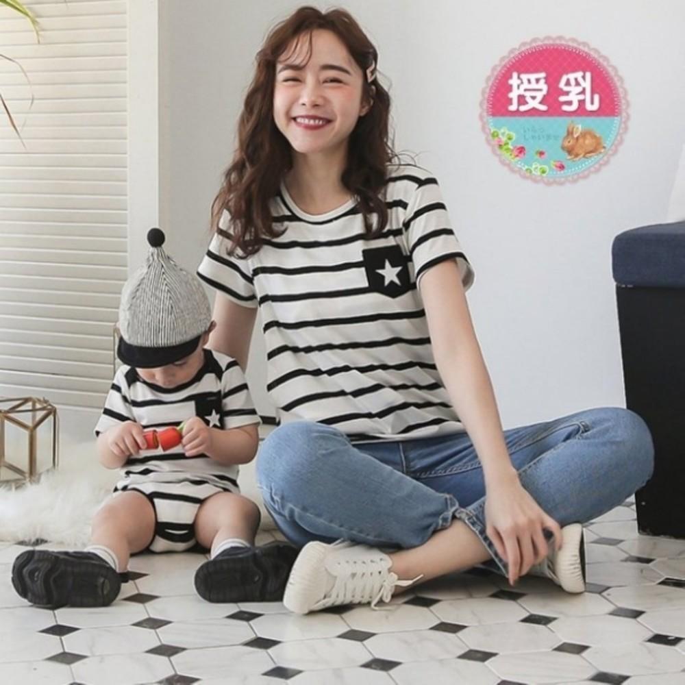 BS5600GU - 哺乳 親子裝 套組【BS5600GU】 STAR 條紋 短袖 孕婦裝 寶寶 包屁衣 哺乳上衣