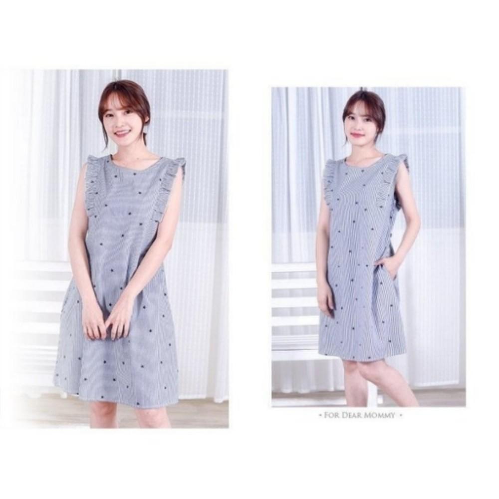 條紋星星親子裝 【BS6119GU】哺乳衣 無袖 荷葉袖 連身裙 哺乳洋裝 孕婦裝