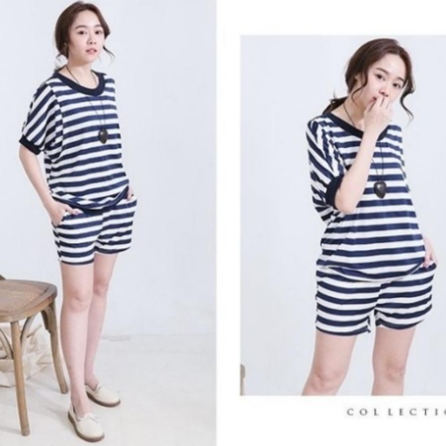 條紋連袖哺乳裝 【BS7609GU】 哺乳套裝 孕婦裝 哺乳衣