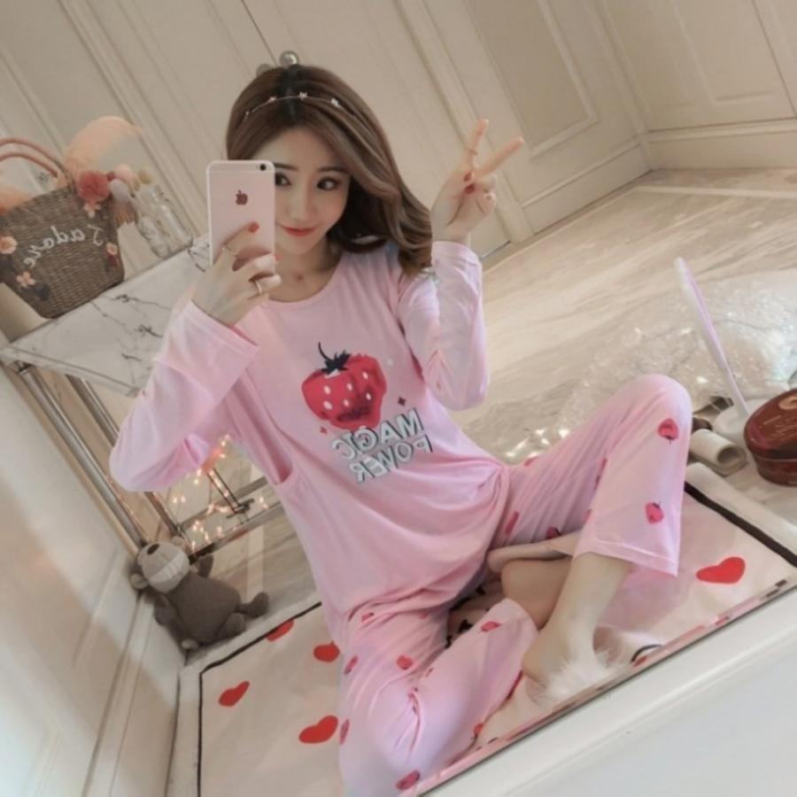 哺乳睡衣 【BS8026】 長袖 柔棉 透氣 哺乳套裝 哺乳衣 孕婦裝 哺乳裝 魔法草莓