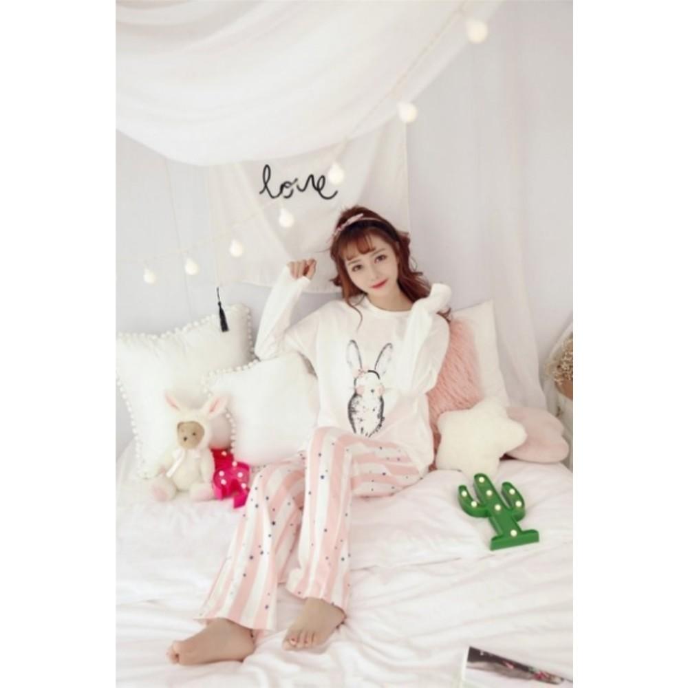 哺乳睡衣 【BS8088】 哺乳衣 孕婦裝 哺乳裝 哺乳睡衣 甜蜜小兔長袖柔棉透氣哺乳套裝