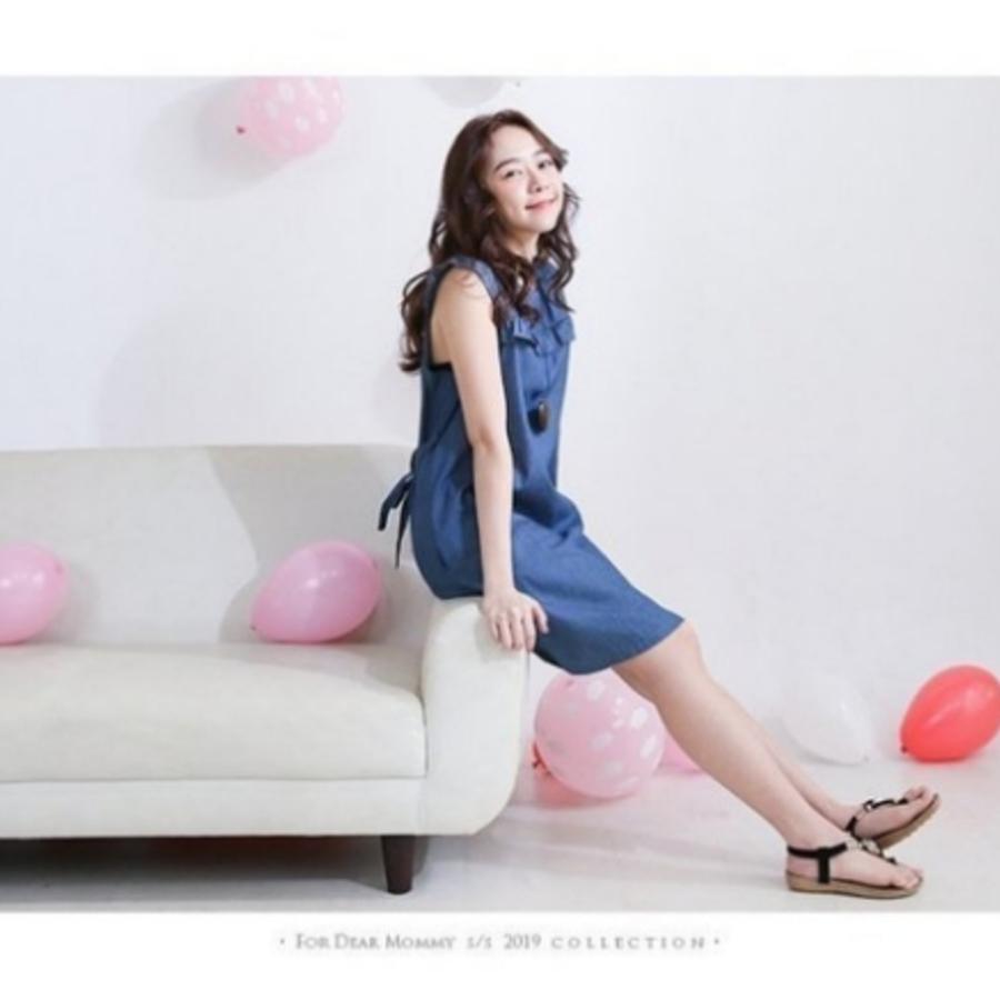親子裝 【BS8119GU】 荷葉 無袖 牛仔 連身裙 哺乳洋裝 孕婦裝 哺乳衣 牛仔裙