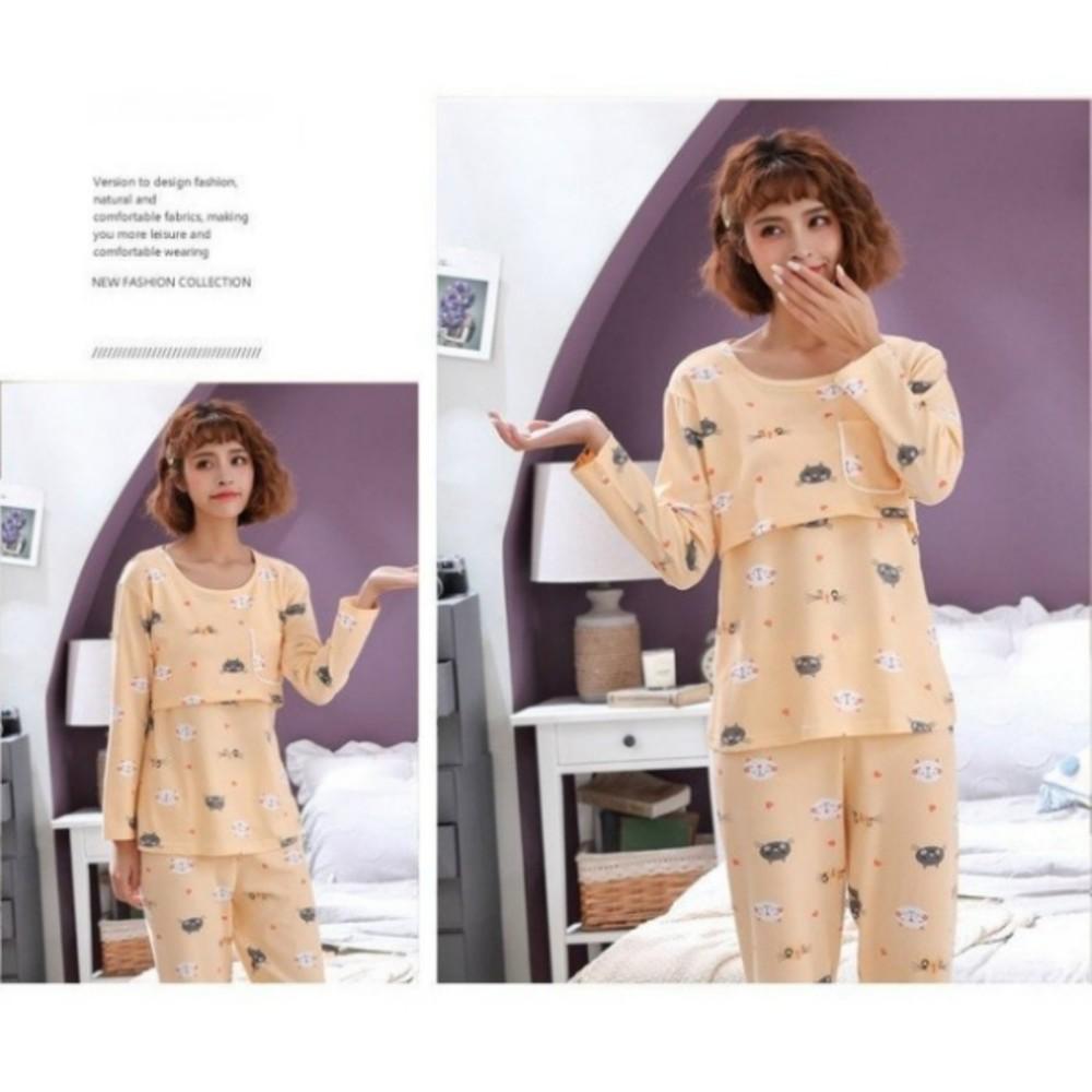 喵咪 哺乳套裝 【BS8127】 親膚 長袖 柔棉 哺乳睡衣 月子裝 哺乳裝