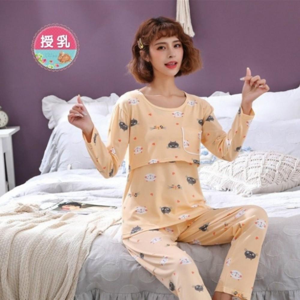 BS8127 - 喵咪 哺乳套裝 【BS8127】 親膚 長袖 柔棉 哺乳睡衣 月子裝 哺乳裝