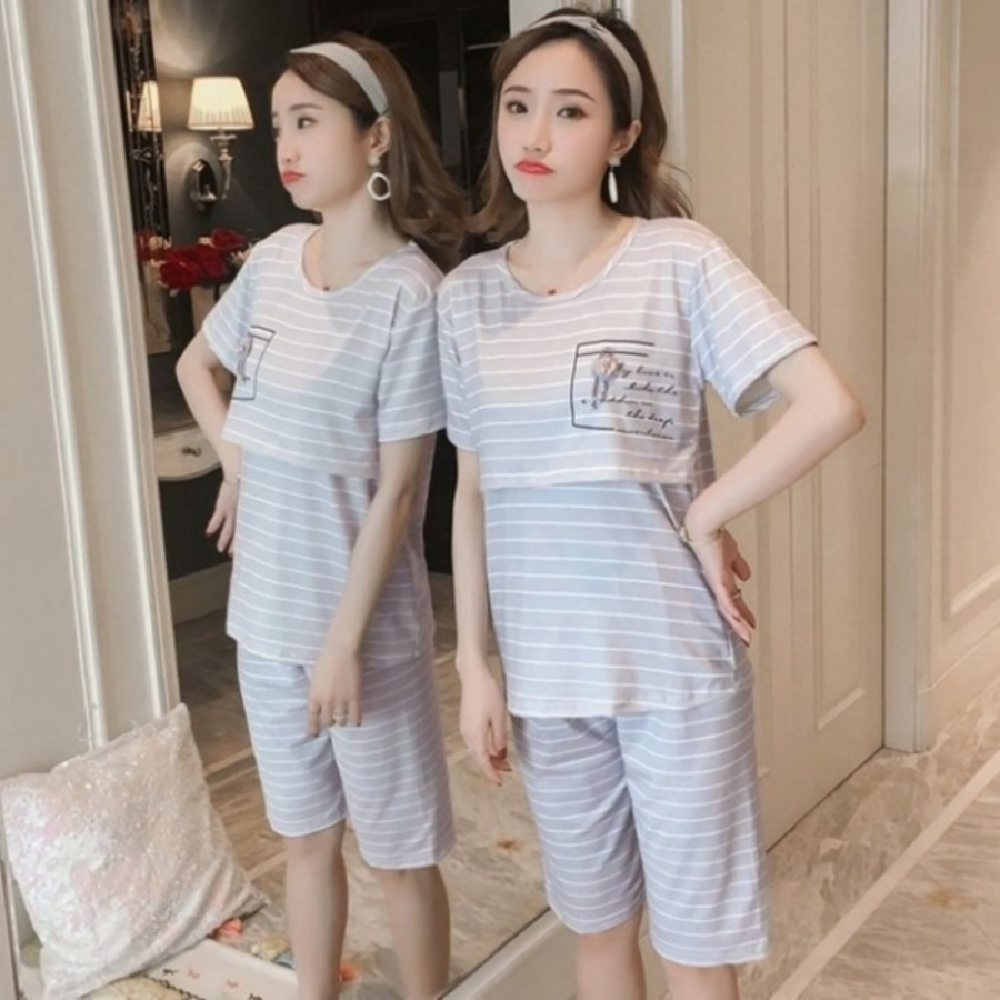 月子裝 【BS8717】 哺乳套裝 條紋 短袖 哺乳衣 十 五分褲 哺乳裝 哺乳睡衣 孕婦