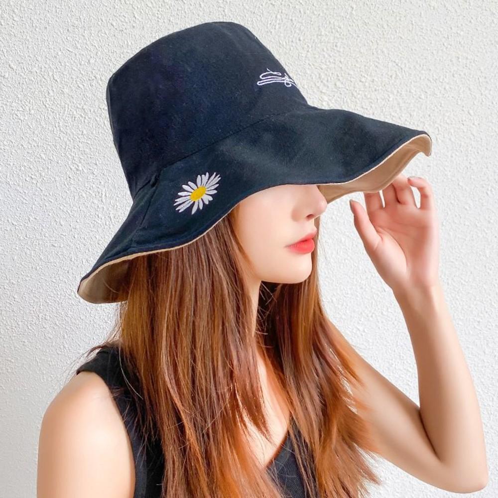 韓系 漁夫帽【BW2318】 清新 小雛菊 微笑 遮陽帽 女性 成人 防曬 桶帽 大頭圍 盆帽 可折疊