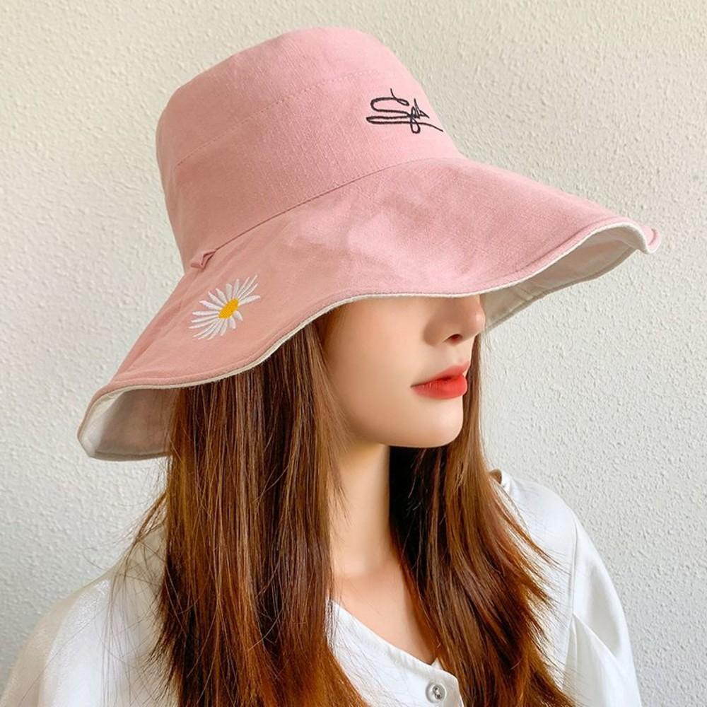 韓系 漁夫帽【BW2318】 清新 小雛菊 微笑 遮陽帽 女性 成人 防曬 桶帽 大頭圍 盆帽 可折疊 封面照片