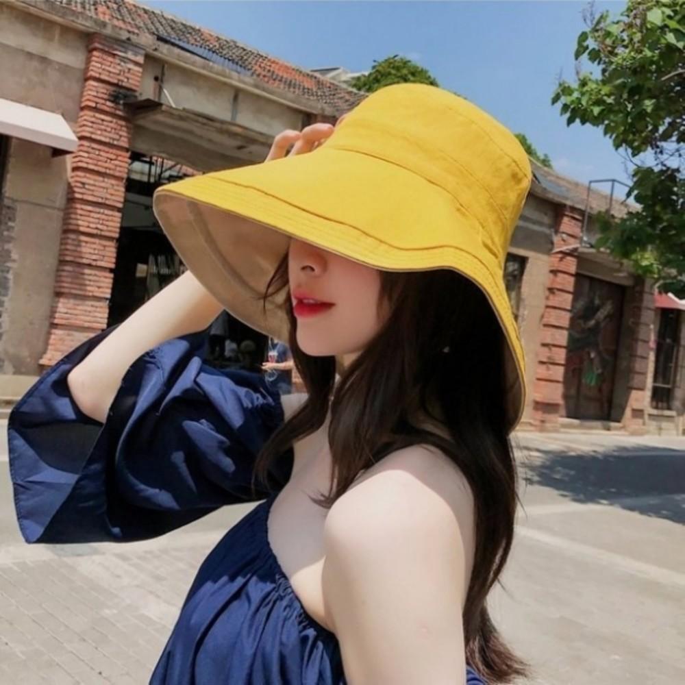 韓系漁夫帽【BW2861】 雙色帽 遮陽帽 女性 成人 防曬 漁夫帽 大帽檐 盆帽 封面照片