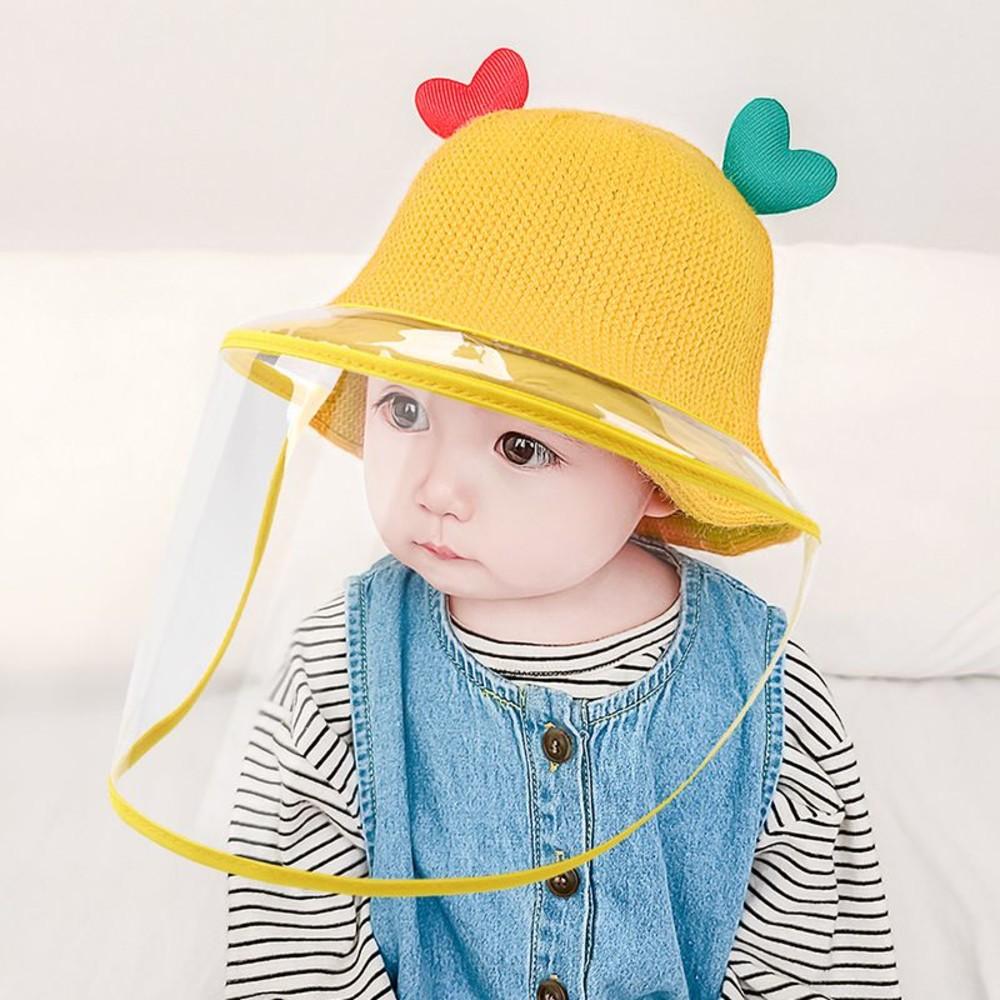 BW2990-韓系 愛心 微笑 漁夫帽 防飛沫 防疫 面罩 防疫帽【BW2990】 寶寶 盆帽 遮陽 防曬 兒童帽