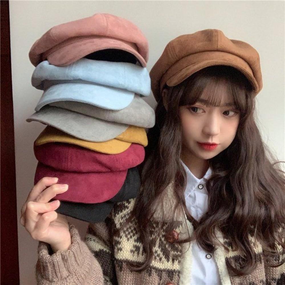 BW3060-畫家帽 【BW3060】韓版 日系 文藝 畫家帽 麂皮絨 保暖 鴨舌 帽子冬季