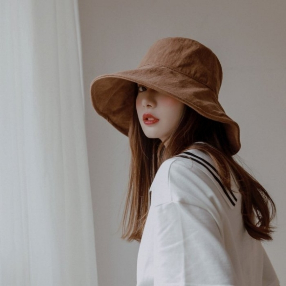 BW3116-韓系 漁夫帽【BW3116】 純色 棉麻 遮陽帽 女性 成人 防曬 漁夫帽