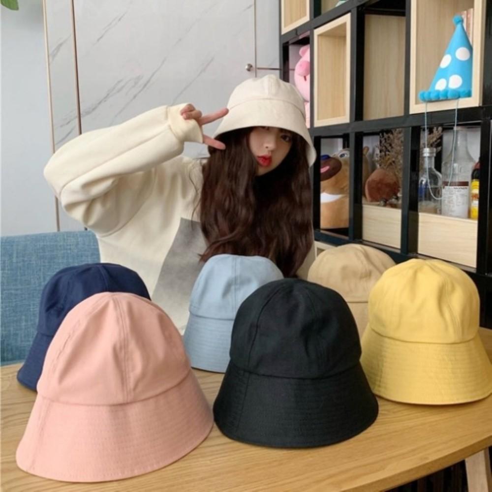 韓系 純棉 漁夫帽【BW5001】 純色 斜紋布 遮陽帽 女性 成人 防曬 桶帽 漁夫帽