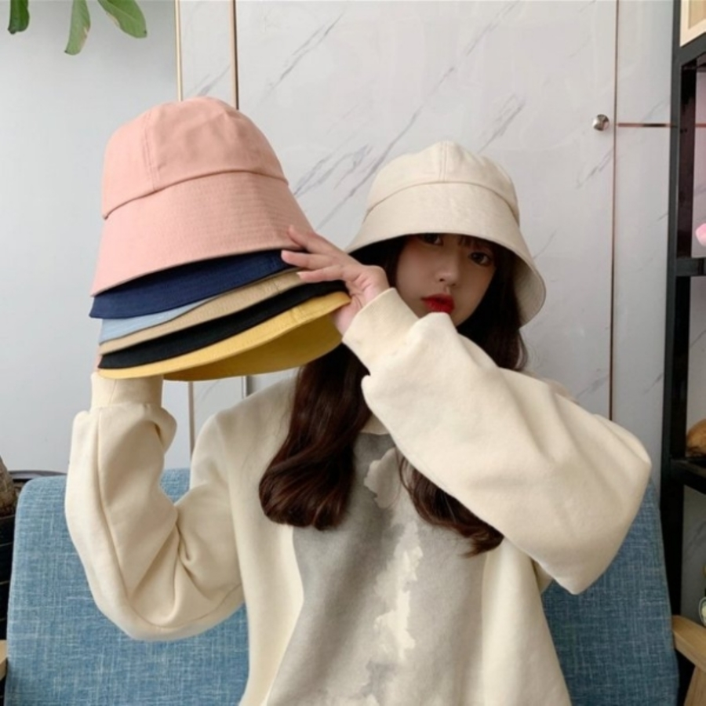 韓系 純棉 漁夫帽【BW5001】 純色 斜紋布 遮陽帽 女性 成人 防曬 桶帽 漁夫帽 封面照片