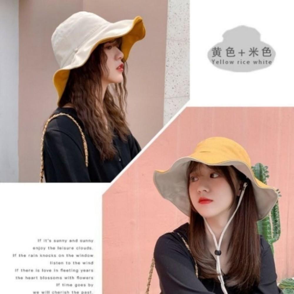 韓國暢銷 純棉 雙色帽 漁夫帽【BW5888】 遮陽帽 女性 成人 防曬 大帽檐
