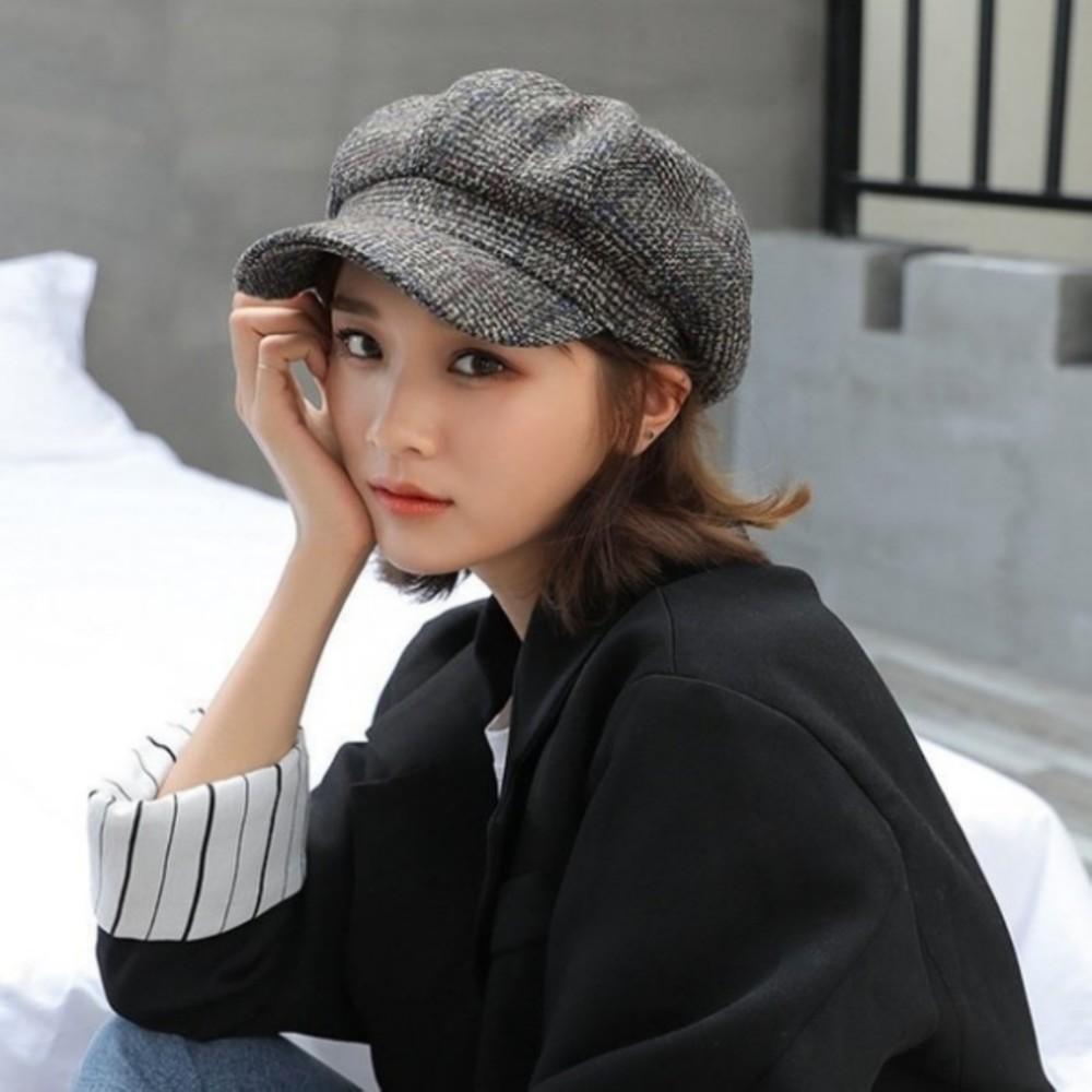 韓系 鴨舌帽 【BW9601】 畫家帽 女性 成人 防曬 格子 保暖帽 貝蕾帽 英倫帽 畫家帽