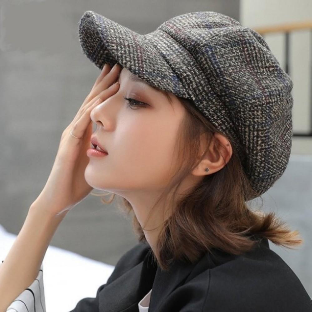 韓系 鴨舌帽 【BW9601】 畫家帽 女性 成人 防曬 格子 保暖帽 貝蕾帽 英倫帽 畫家帽 封面照片