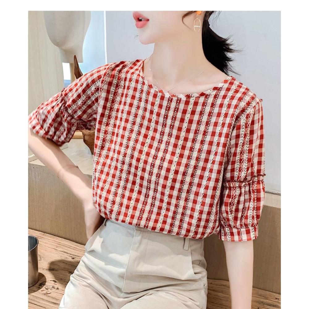 【C0588CM】新款韓版小清新短袖小格子上衣百搭圓領打底衫女
