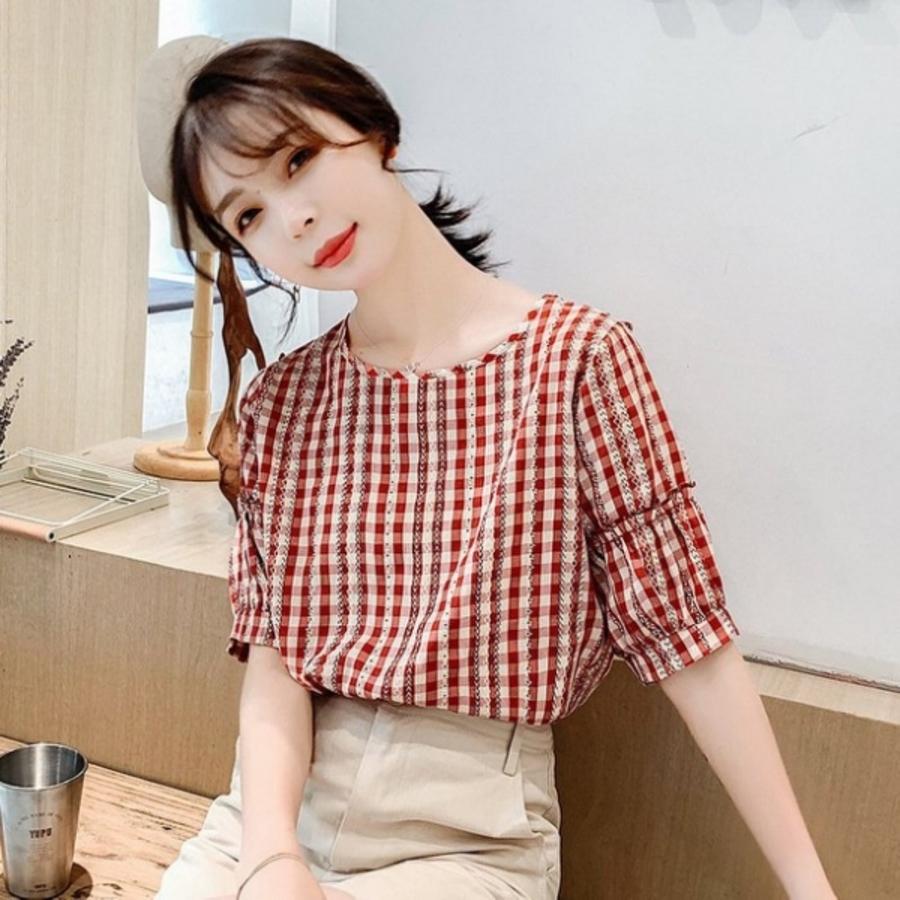 C0588CM-【C0588CM】新款韓版小清新短袖小格子上衣百搭圓領打底衫女
