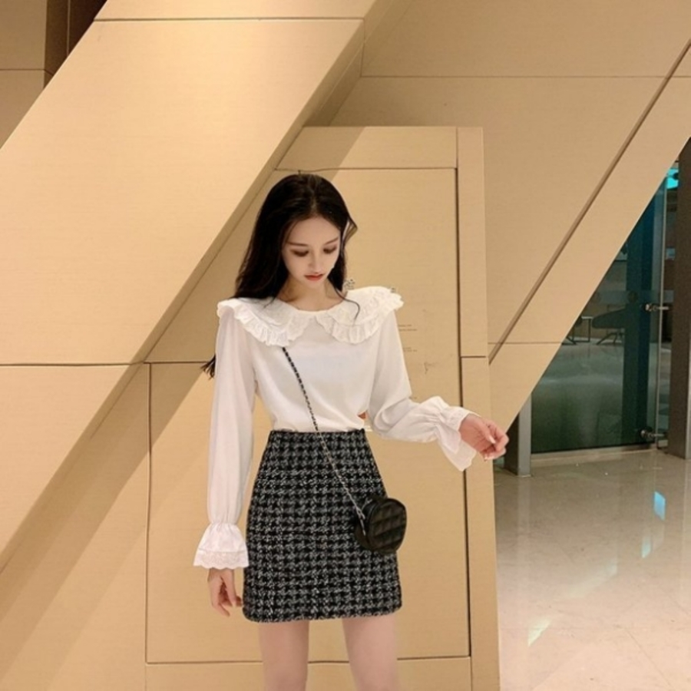 【C1159】 娃娃領 韓 襯衫 女性襯衫 清新 甜美 韓 蕾絲 長袖 襯衫