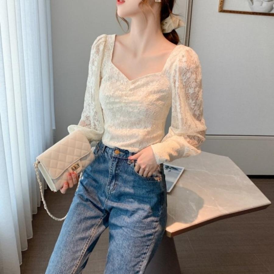 法式宮廷風蕾絲上衣【C1166CM】實拍早秋新款韓版法式方領仙女氣質短款燈籠袖蕾絲衫