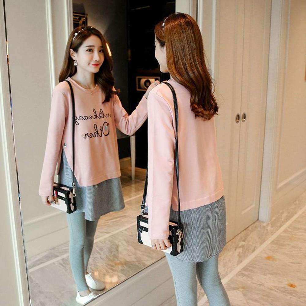 長袖 字母 韓系 拼接 條紋 【C1246】假兩件 上衣 孕婦裝 M-XXL 孕婦長版上衣 長版衣