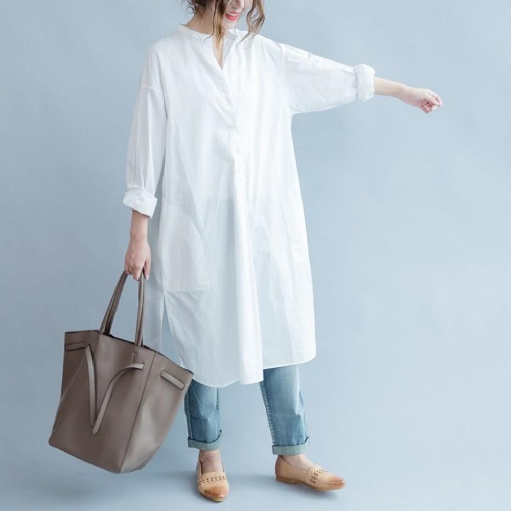 C1590 - 實拍 文藝 長版 襯衫 【C1590】純色 寬鬆 長款 開叉 不對稱 襯衫 開扣 洋裝