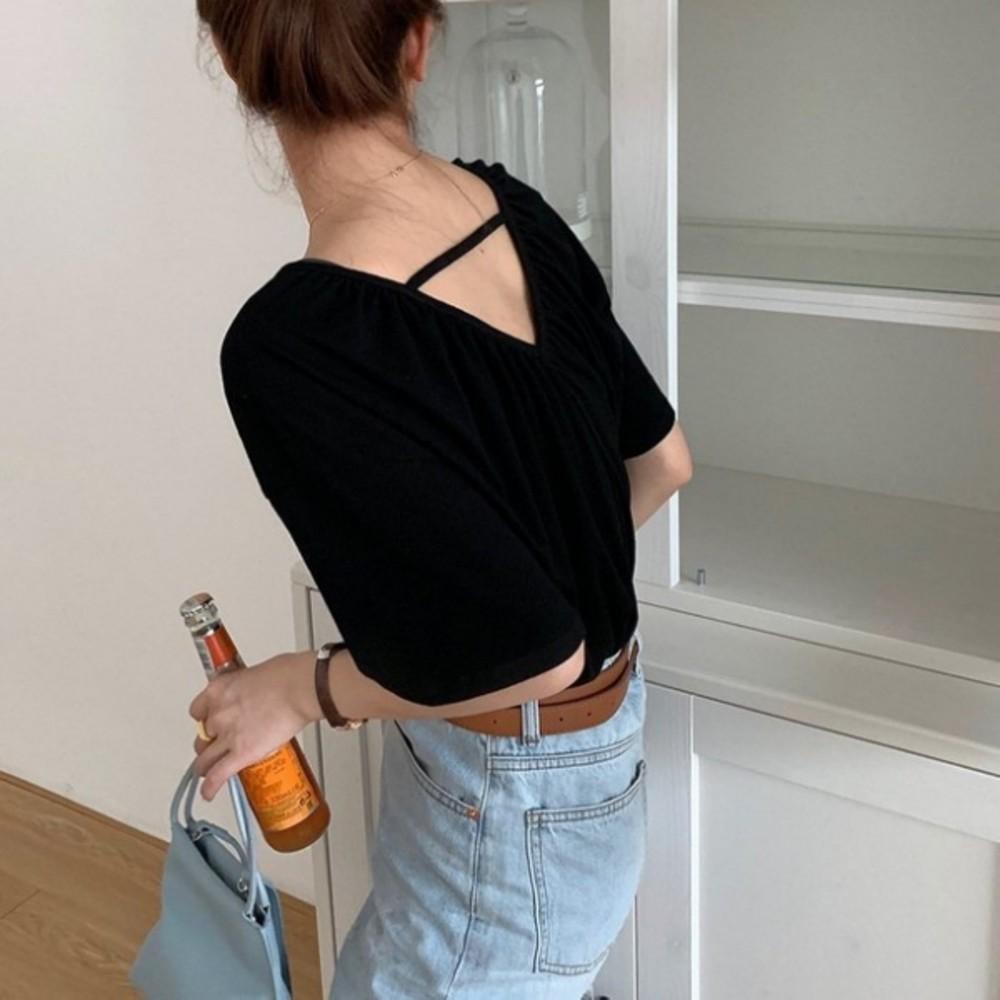 小心機休閒上衣 【C1793】純色雪花棉露背短袖T恤女韓