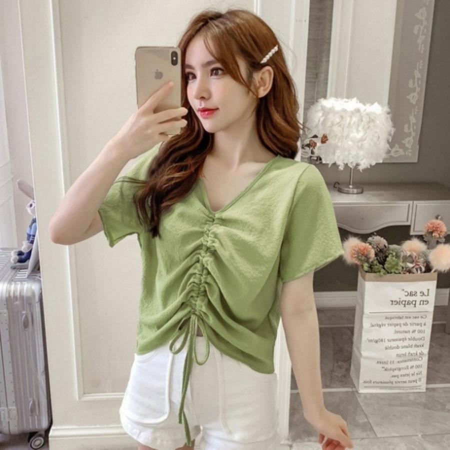韓系抽繩短版上【C1817】方領 開扣 短袖 短版 襯衫 上衣 女 顯瘦