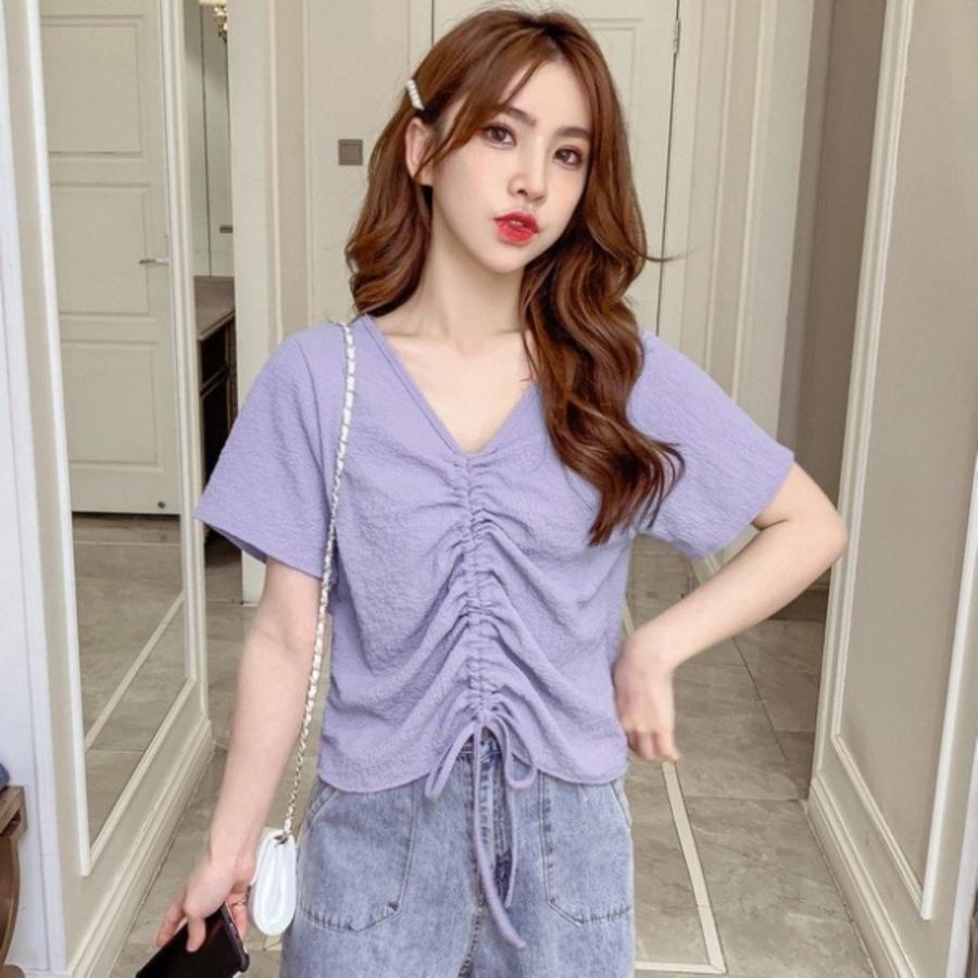 韓系抽繩短版上【C1817】方領 開扣 短袖 短版 襯衫 上衣 女 顯瘦 封面照片