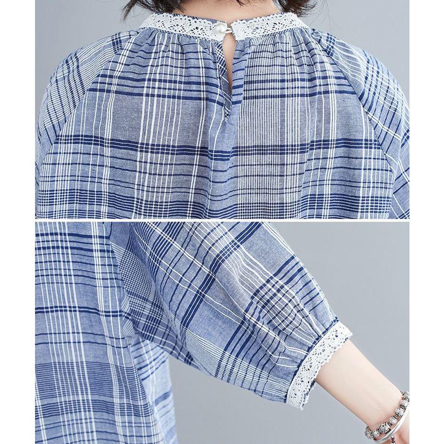 實拍 文藝 格紋 襯衫 【C1969】七分袖 蕾絲 拼接 女 中袖 連肩袖 襯衫