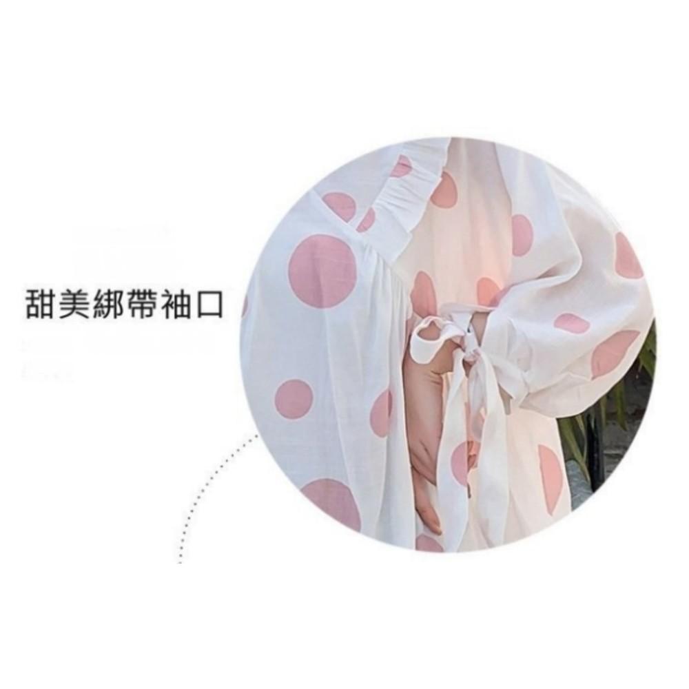 韓系 寬鬆 波點 襯衫【C2137】 甜蜜泡泡 七分袖 小V領 孕婦裝 洋裝 連身裙 上衣